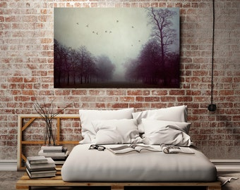 "Tree Photography Canvas Art, Large Canvas Print, Fog Landscape Photography, 40x60 Oversized Art, Nature Wall Decor, ""Shadows and Fog"""