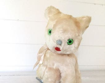 Vintage stuffed kitten from 1950s -toy -stuffed animal -antique - white -cat -retro -nursery decor -girl