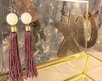 Purple beaded tassel earrings with white stones
