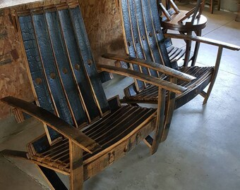 Bourban/Whiskey Barrel Stave Adirondack Chairs - Please ask for shipping quote