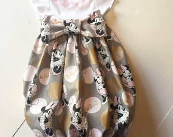 Newborn Minnie Mouse layette gown~ pink and gold layette gown~coming home outfit!!~Beautiful baby shower gift!!