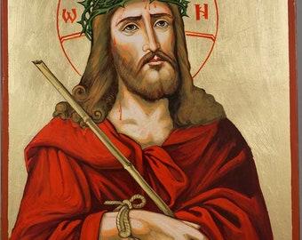 Jesus Christ Crown of Thorns  Hand-Painted Byzantine Orthodox Icon