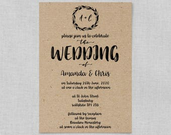 Boho wedding invite set, Classic wedding invitation rustic, Kraft wedding invite set, Wedding invitations recycled paper A5