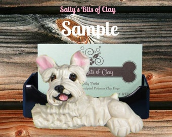 White Schnauzer Natural ears HOLDER for: Business Cards / Cell Phones / Iphones / Post It Notes / OOAK Sculpture by Sally's Bits of Clay