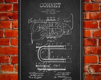 1899 Cornet Patent, Canvas Print, Wall Art, Home Decor, Gift Idea