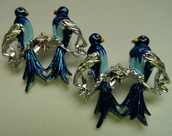 Twin Pins 2 Tone Blue Birds Enamel Rhinestone Eyes Vintage