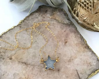 Druzy Star Necklace Druze Layering Celestial Moonchild Boho Beach Stacking Friend Gift Gold Filled