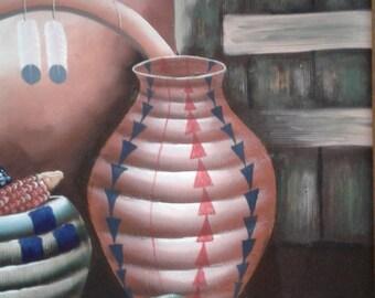 Vintage Native American/ Southwestern Oil On Canvas/  Dreamcatcher/ Pottery/ Indian Corn/Signed
