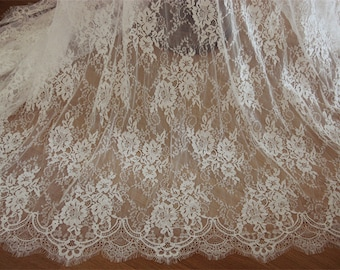 Chantilly lace fabric, French chantilly lace,bridal lace fabric with scalloped borders