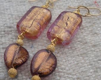 Venetian Glass Earrings Gold Foil and Amethyst