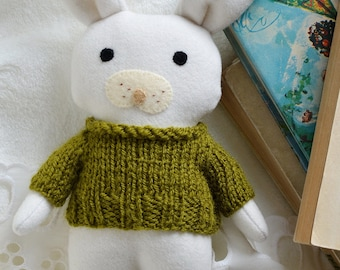 Green Pea soft toy bunny, stuffed toy animal, Easter bunny, soft toy, white bunny rabbit, gift for toddler, rag doll, babyshower, bunny doll