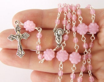 Baptism Gift - Catholic Rosary Beads - Thin Handmade Five Decade Rosary - Light Pink Rosary Beads - Girl's Rosary - Catholic Gift