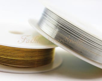 1 Roll Silver/Gold Copper Beading Wire, 0.2mm/0.4mm/0.6mm/0.8mm/1mm Thick, Beading Wire, Beading Wrap Wire