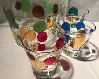 Russel Wright Eclipse Mid Century Dotted Glass Ice Bucket w/ 3 Rocks Glasses