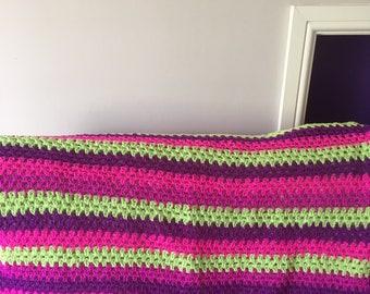 A Multicoloured Granny Striped Blanket
