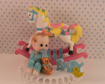 Baby Boy Cake Topper /  Rocking Horse Cake Topper / boy Cake Topper / Baby boy Shower Top / First Birthday