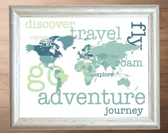 World Adventure Art Poster - Instant Download