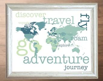 World Adventure Art Poster - Instant Download