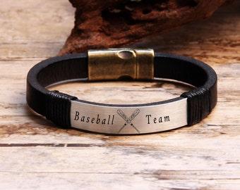 Baseball Team Bracelet, Custom Bracelet, Sports Jewelry, Friendship Bracelet, Baseball Bracelet, Sport Bracelet, Leather Bracelet, Gift