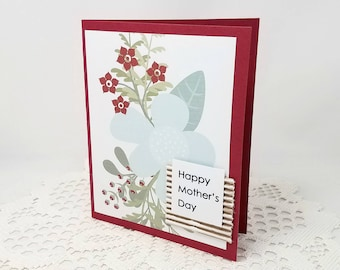 Happy Mother's Day - Mother's Day Card - Botanical Print Card - Botanical Mother's Day Card - Blank Card - Red Flowers - Card for Mom