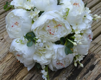 Wedding, ivory, Peonies,Lilly of the valley, Stephanotis, bridal bouquet
