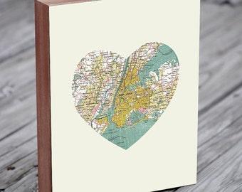 New York City - New York Art - NYC Map - NYC Map Art - City Heart Map - Wood Block Art Print