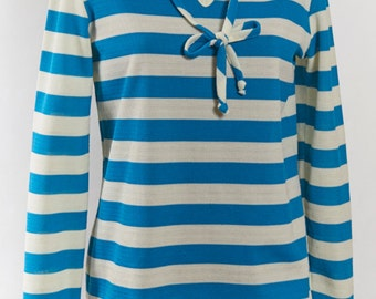VTG M Blouse Top Stripe Bow Tie Long sleeve Stretch Candy