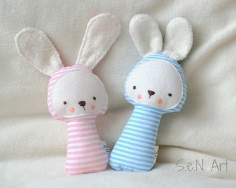 Soft Baby Rattle Bunny fabric Rattle Bunny Rattle Soft Toy Softie Baby shower gift Stuffed Toy Handmade Fabric Rattle Cute bunny Rattle