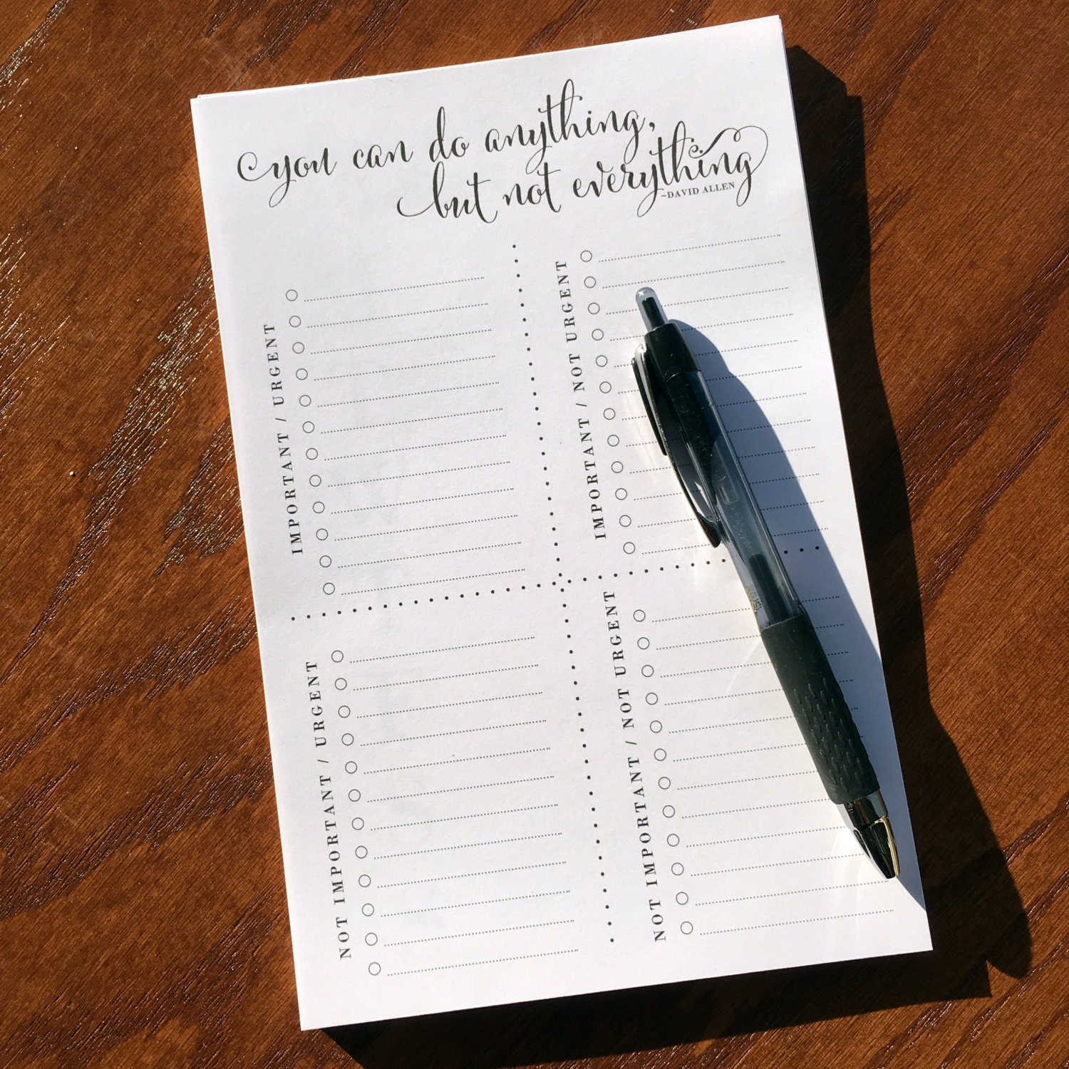 Priority Matrix Notepad To Do List Note pad Time management
