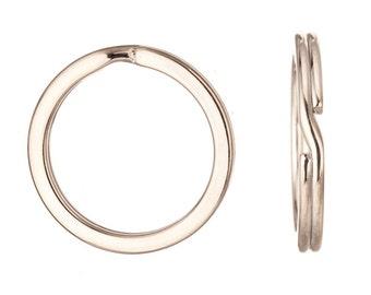 10pcs 30mm flat round platinum finished steel split ring