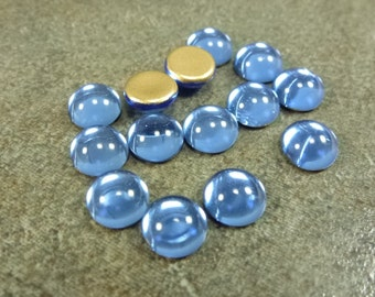 Sapphire Czech Glass Cabochon 7mm Round 40pc Blue