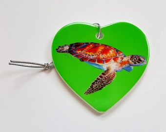 Speedy Sea Turtle Holiday Christmas ornament heart shaped porcelain ready to hang