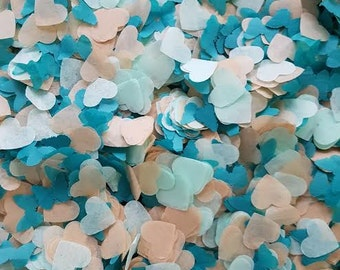 Turquoise/Mint/natural brown hearts and butterfly confetti handmade party and table decor /Weddings / Birthday / baby showers