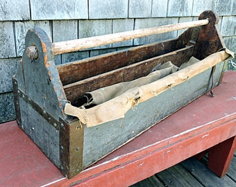 Antique Tool Box Cottage Carpenters Tool Carrier Primitive Blue Painted Lollipop Ends Copper Corner Supports Garden Covered Tote
