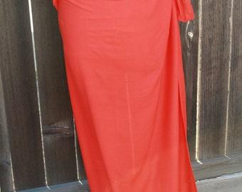 Dark orange Full and half sized, 100 percent rayon, pareo, sarong, lavalava, tahitian costume, skirt