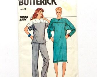 Butterick 4910, Women's Top, Dress, Pants Pattern, Fast & Easy Pattern, Size 8, Vintage Uncut Pattern
