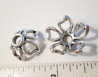 SALE, Bead Caps, 20x10mm, Antique Silver Metal, Large BeadCaps, 5 Petal Flower Caps, Silver Bead Cage, Large Hole Caps, QTY 10 caps - bm170