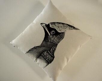 General Cardinal Bird silkscreened cotton canvas throw pillow 18x18 inch
