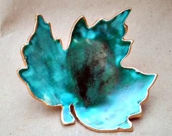 Ceramic Trinket Dish Ring Dish Leaf malachite green edged in gold