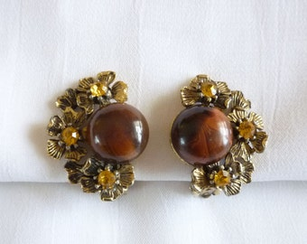 1950s Brown Cabochon and Rhinestone Earrings Signed Selini