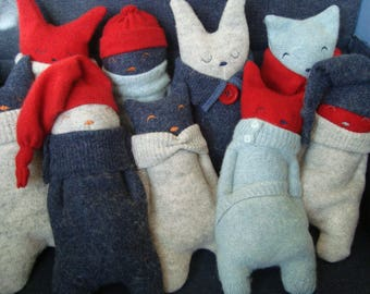 Wool softie made from wooly jumpers. Ideal baby toddler cuddle toy. Christmas, Birthday, Christening.