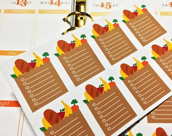 16 Grocery Bag To-Do List Stickers! Perfect for your Erin Condren Life Planner, Filofax, Kikkik, Plum Paper and other planner!