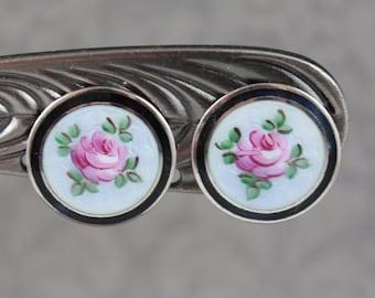 Vintage Rose Blue Guilloche Black and Silver Enamel Screw Back Earrings