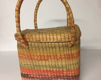 Vintage Woven Basket Purse / Basket Purse / Boho Purse / Bohemian Style Purse / Market Bag