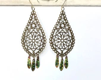 Chandelier Baroque Filigree drop earrings antique brass and Czech beads