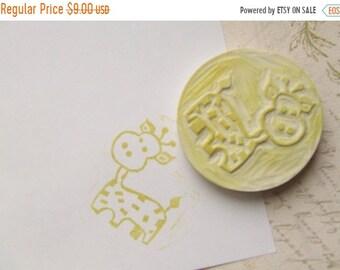 SPRING SALE Giraffe Hand Carved Rubber Stamp