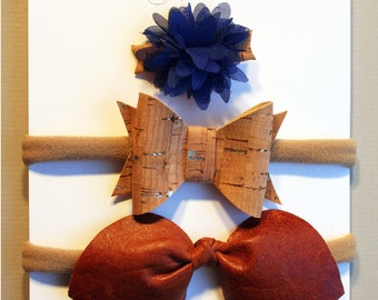 Flower and loops on headband, elastic, clip or hair clip - baby and child - cloth, leather, Cork