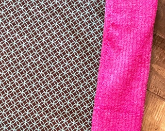 Baby Blanket  - Brown and Blue Rings - Designer Baby Blanket  - Pink Chenille Backing