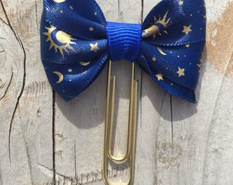 Stars and Moons Celestial Deep Blue Bow Planner Clip