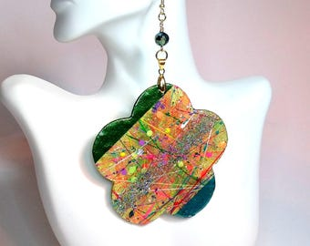 Green and Gold Handpainted Handmade Wood Earrings